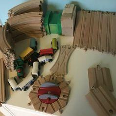 64 Piece Wooden Toy Train Tracks - a mixture of Brio and