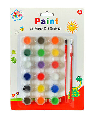 NEW Kids Create 20 Peice Art Set! 18 Paints & 2 Brushes Kids