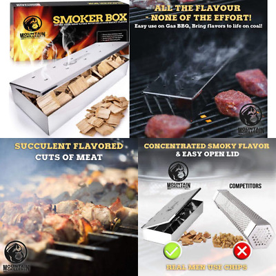Grill Smoker Box for Wood Chips - Use a Gas or Charcoal BBQ