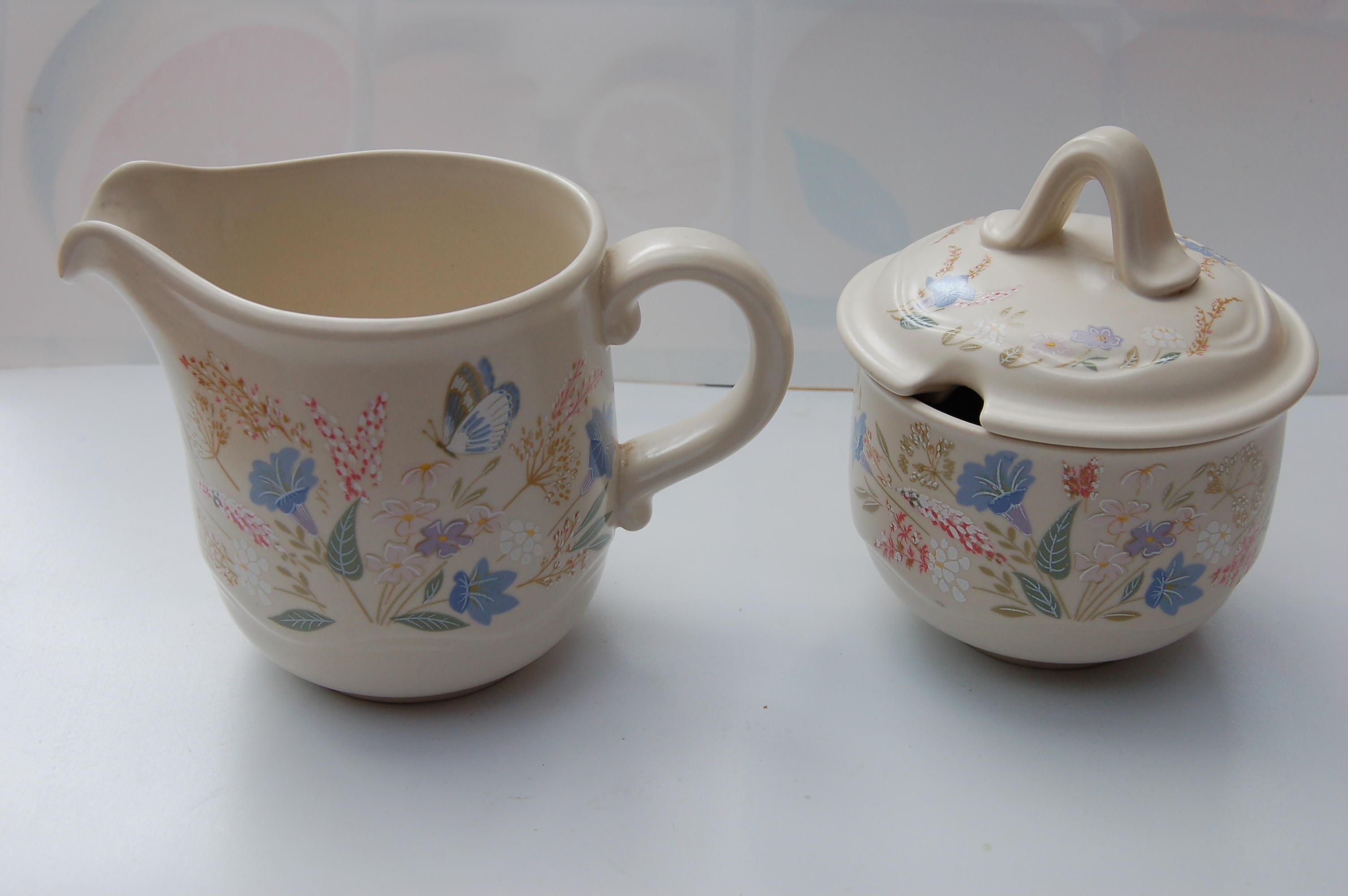 Poole: Springtime Jug & Jam Pot, 2 Floral Plates, one