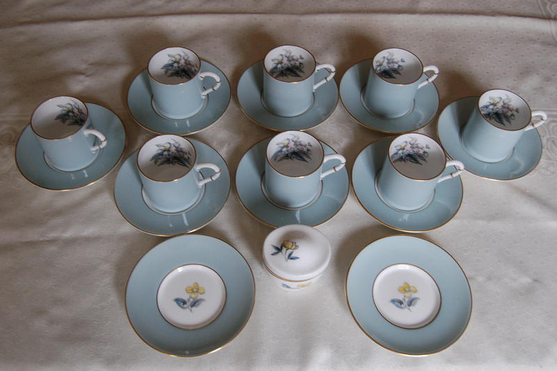 Royal Worcester 'Woodland' Bone China Coffee Cups, Set of 8