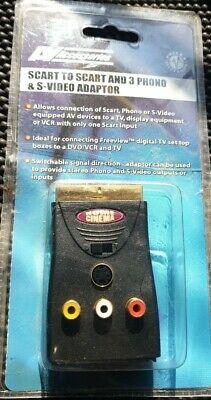 SWITCHABLE SCART MALE TO FEMALE & 3 x RCA PHONO & 4 Pin Mini