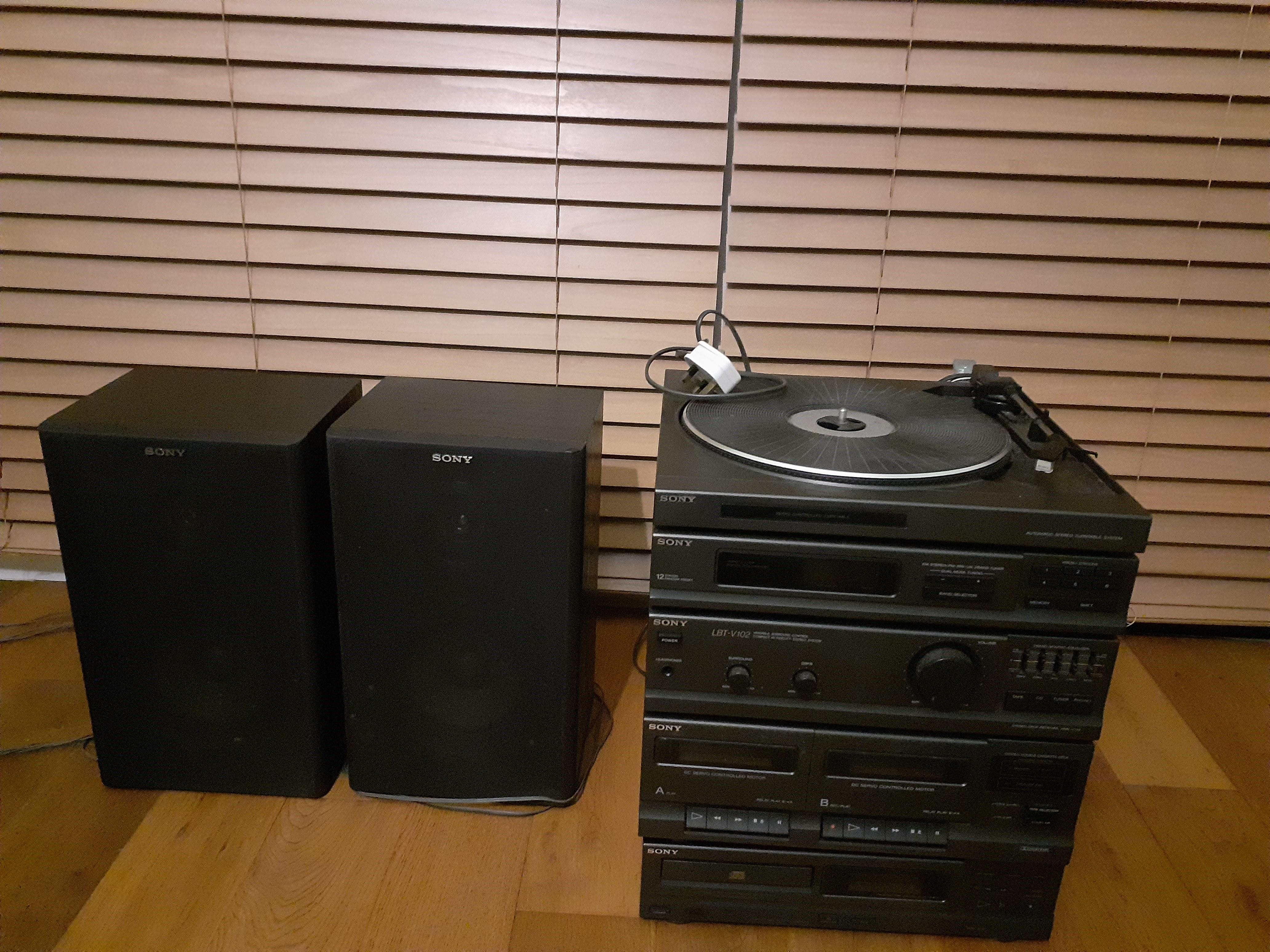 Sony vinyl record player and CD & cassette tape player
