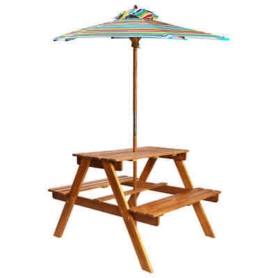 vidaXL Solid Acacia Wood Kids Picnic Table with Parasol