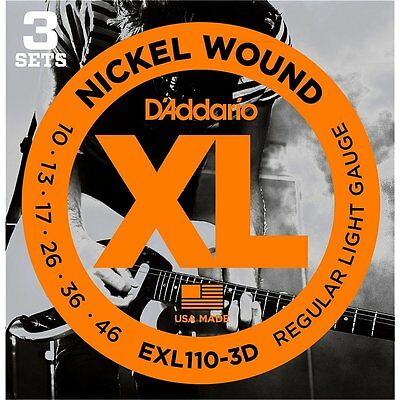 D'ADDARIO EXLD NICKEL WOUND ELECTRIC GUITAR STRINGS - 3