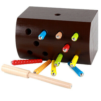 1X(Baby Wooden Magnetic Toy Catching Worms Colorful Insects