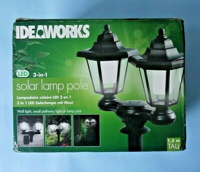 IDEAWORKS OUTDOOR DUAL LED SOLAR LAMPS POLE STAKE WALL MOUNT