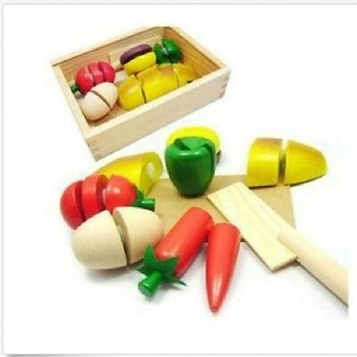 Kids Role Play Kitchen Children Wooden Fruit Vegetable Food