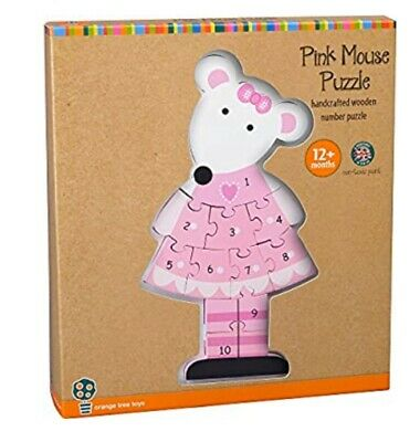 Orange Tree Toys Pink Mouse Wooden Number Puzzle Jigsaw Toy