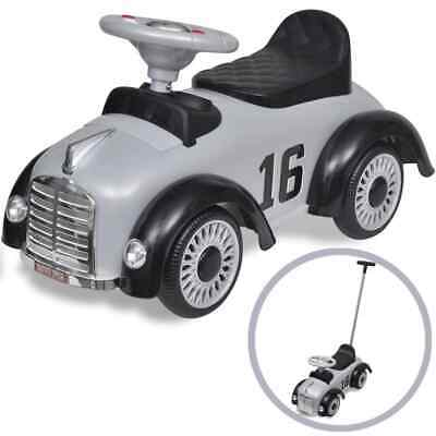 vidaXL Retro Children's Ride-on Car with Push Bar Grey Kids