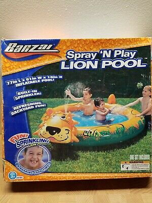 Banzai Spray n Play Lion Fun Inflatable Pool with Sprinkler
