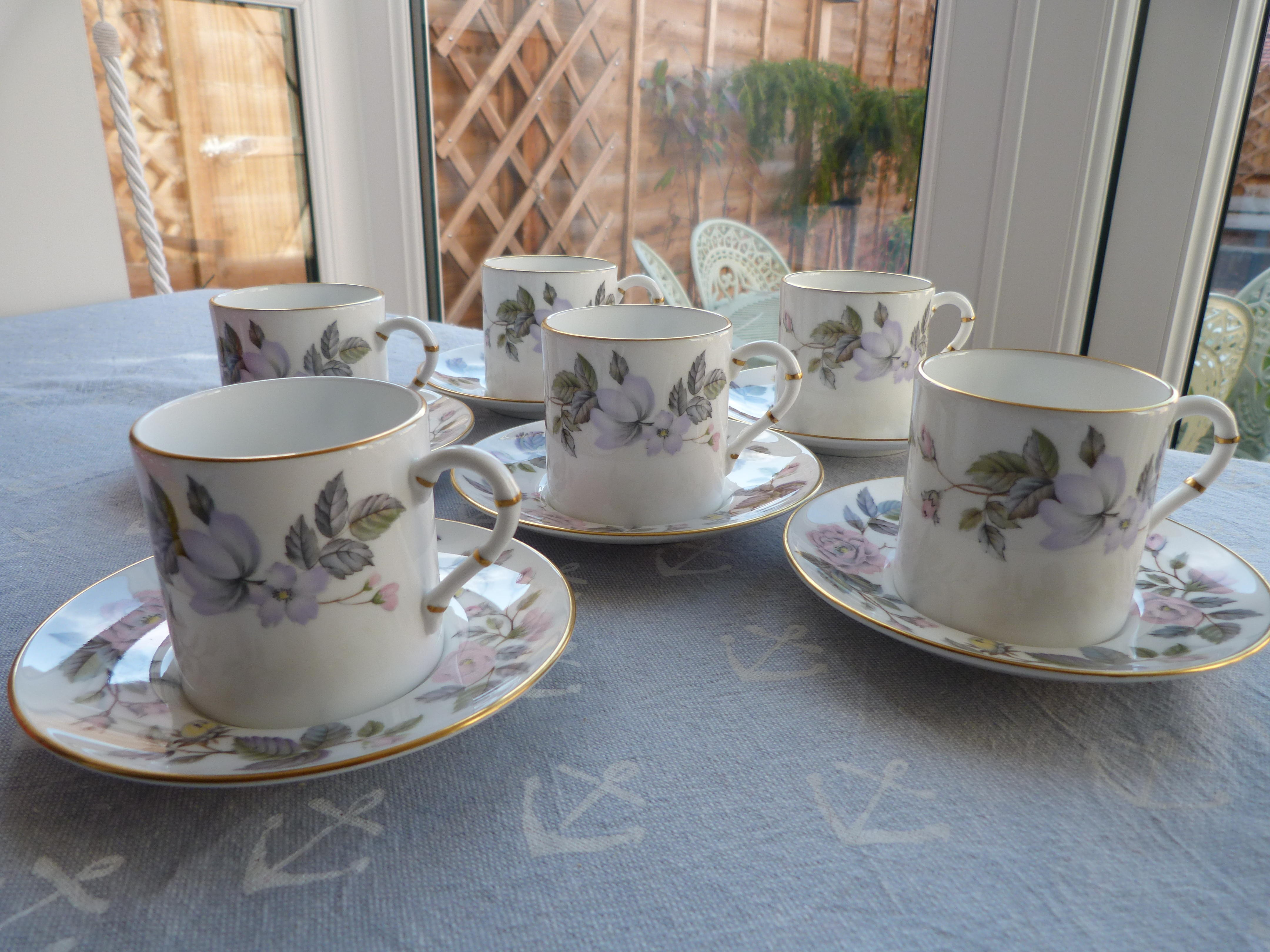 Royal Worcester 'June Garland' 6 x espresso cups and