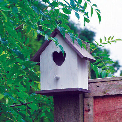 Hanging White Wooden Love Bird House Feeding Station Small