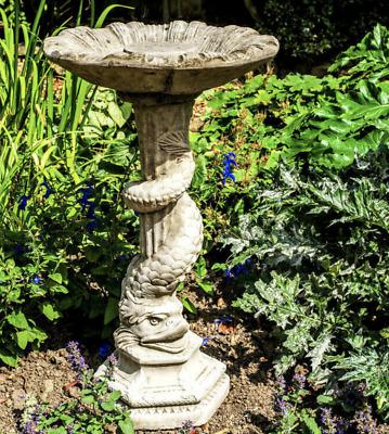 Tall Stone Cast Garden Bird Bath Serpent Snake Mythical by