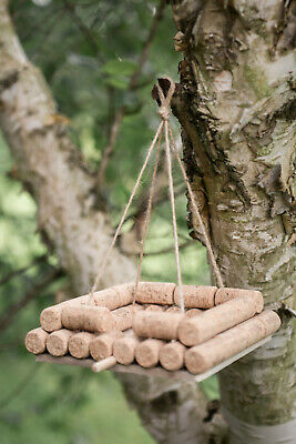Unique Wine Cork Hanging Wooden Garden Bird Feeder station