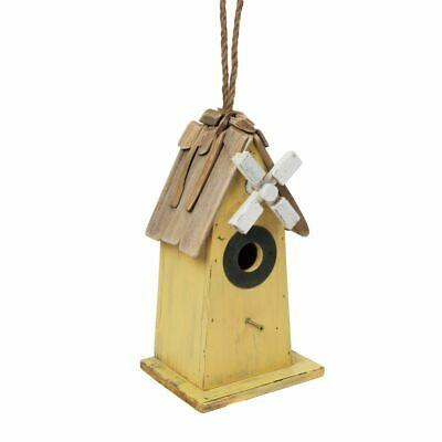 Wooden Driftwood Yellow Windmill Bird House Rope Hanger