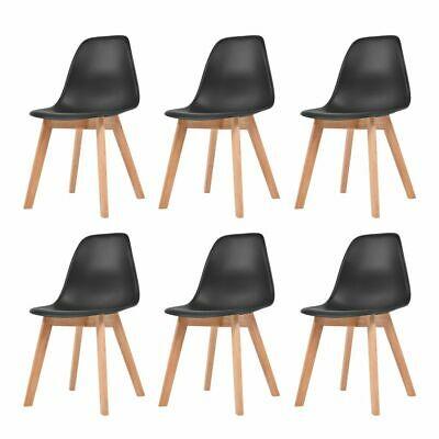 vidaXL 6x Dining Chairs Black Solid Wood Leg Plastic Seat