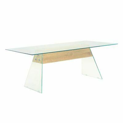 vidaXL Coffee Table MDF and Glass 110x55x40cm Oak Colour