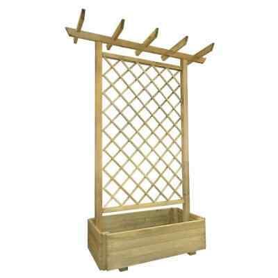 vidaXL Garden Pergola Planter Wood Plant Raised Bed Arbour