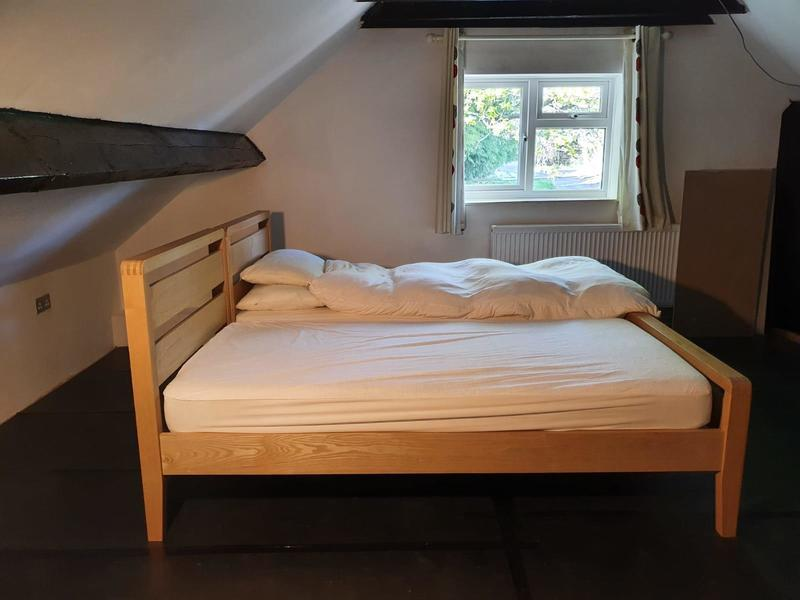 2 x solid wood Bensons single beds & mattresses