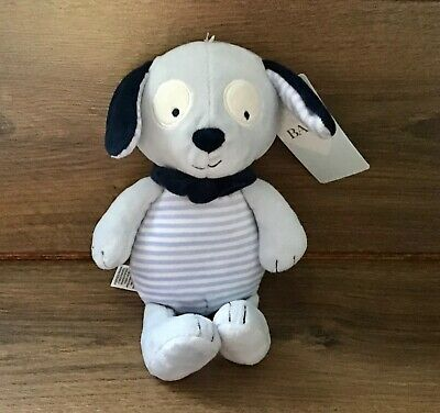 Marks And Spencer M&S Blue Stripey Dog Puppy Soft Cuddly Toy