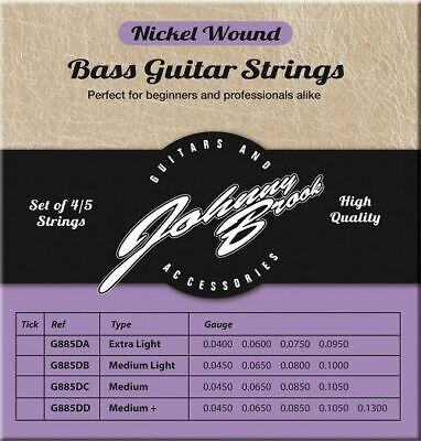 Set of 4 High Quality Nickel Wound Bass Guitar Strings