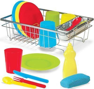 Melissa & Doug WASH & DRY DISH SET Cutlery Plates Cups