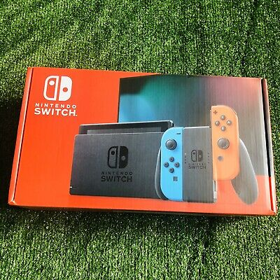 NINTENDO Switch V2 (Improved Battery) Neon Red & Blue - NEW,