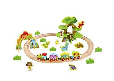 Tooky Toy Wooden Dinosaur Train Set - Medium - 40 pcs