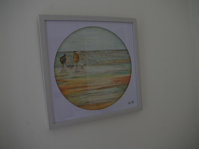 Sam Toft framed print (dogs walking on the beach)