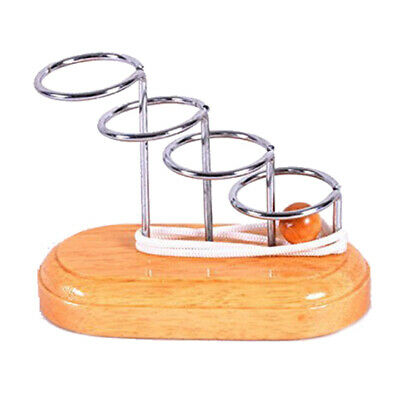 Classic Brain Teaser Metal Wooden Stand String Rope Puzzle