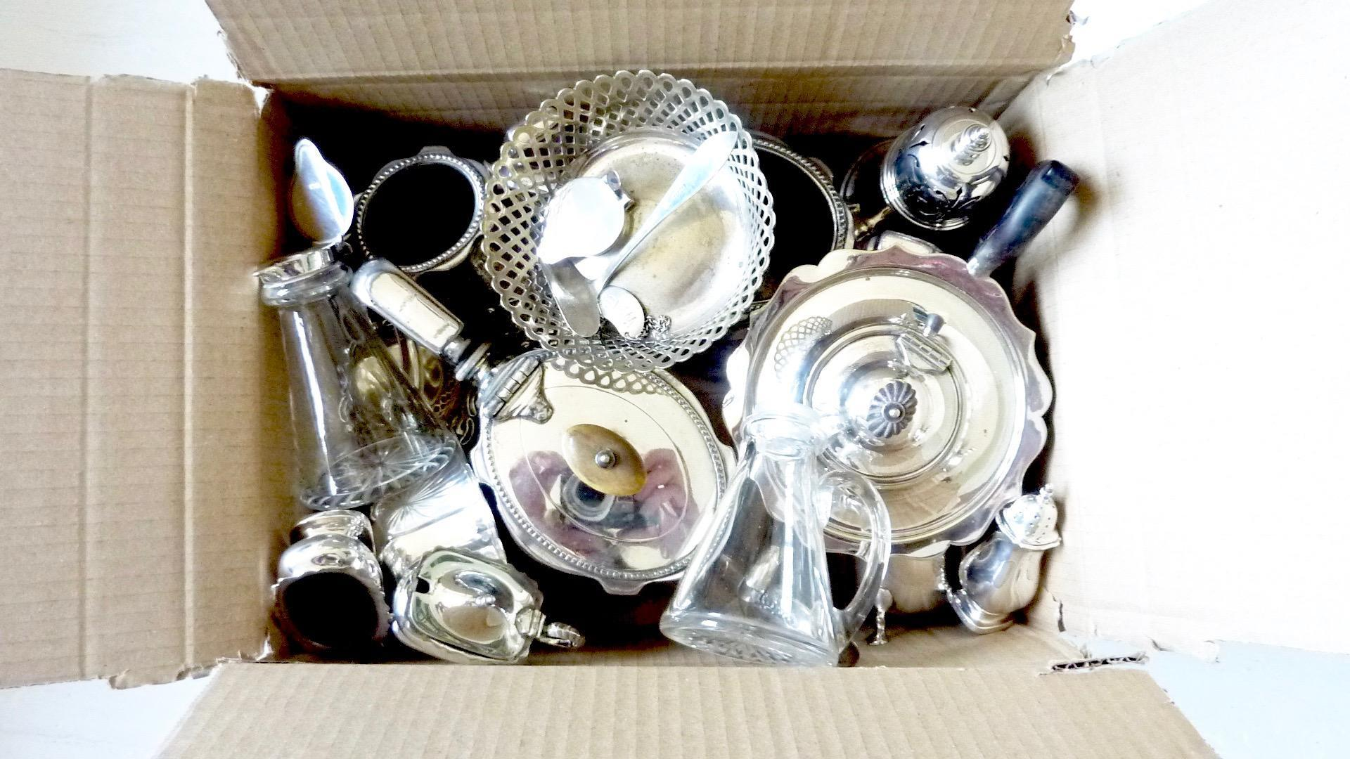 Box of antique silver and silver plate mixed objects