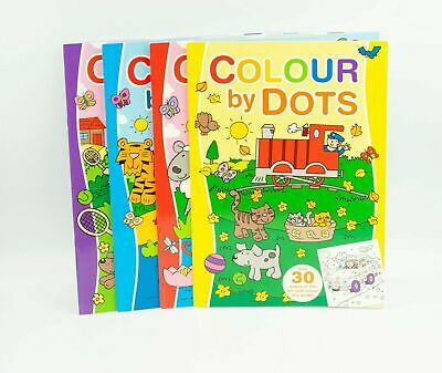 1x A4 Colour By Dots Colouring Book Drawing Practice Letters