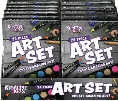 Children Kids Art Set 24 pack Crayons Paints Pens Pencils