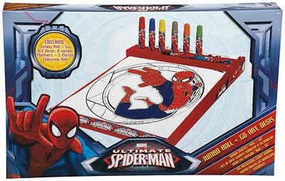 Marvel Ultimate Spiderman Kids Jumbo Roll + Go Art Desk Gift