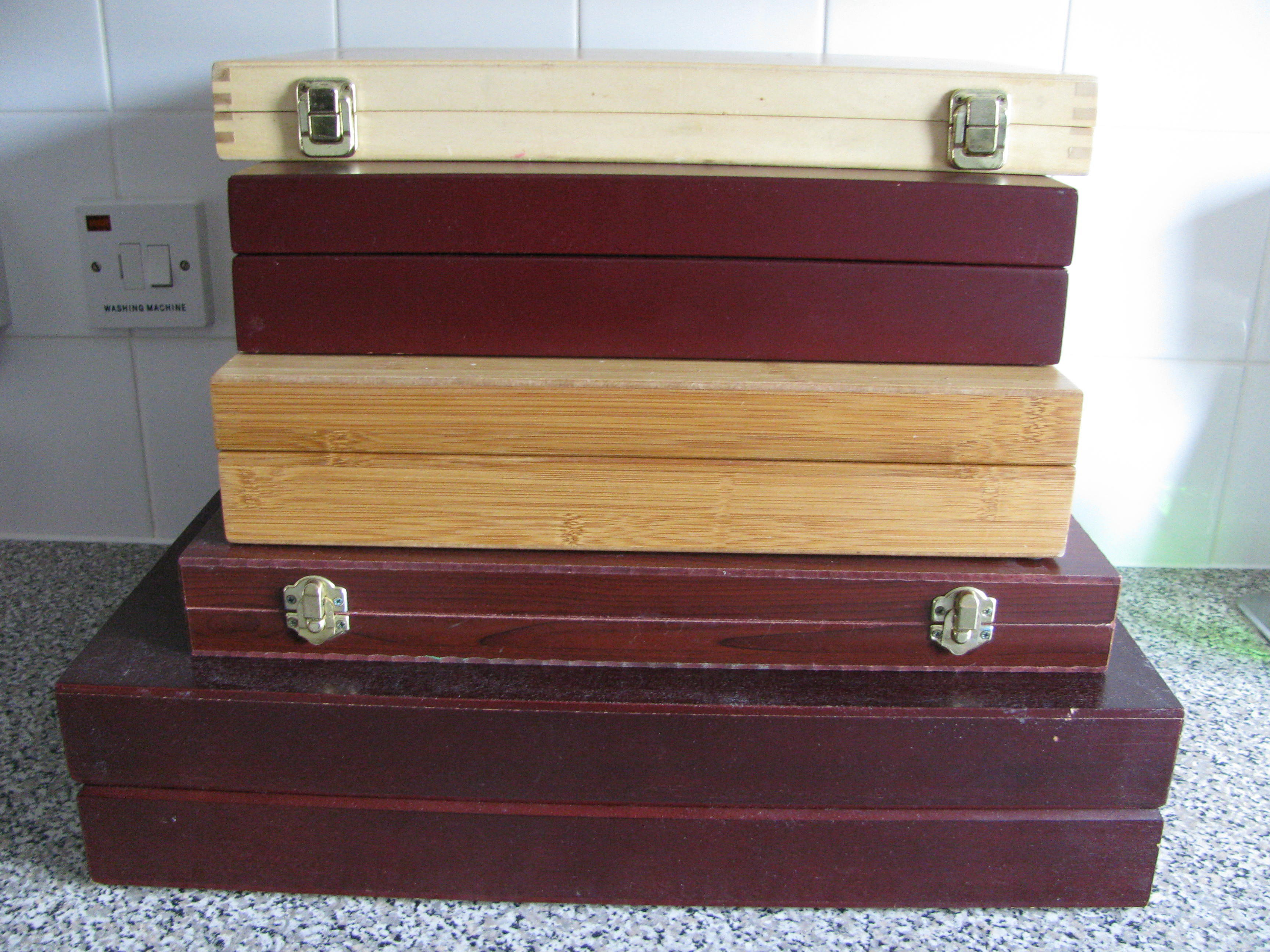 5 x Wooden Display Boxes - Used