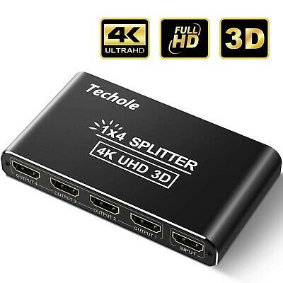HDMI Splitter, Techole Aluminum HDMI Splitter 1 In 4 Out
