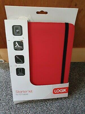 """LOGIK' Folio Case Starter Kit for 10"""" Tablet- Red screen"""