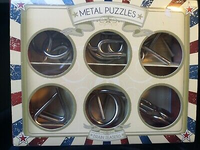 6x Metal Puzzles IQ Brain Teaser Kid Adult Educational Toy.