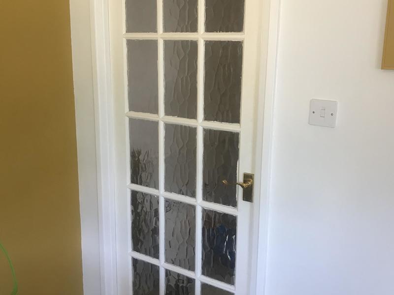 Internal solid wood panel glazed doors x 3