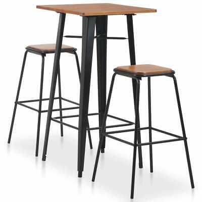 vidaXL 3 Piece Bar Set Steel Black Brown Dining Table 2