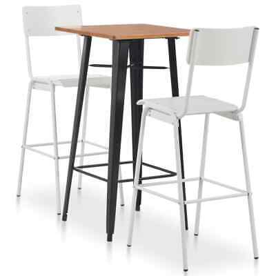 vidaXL 3 Piece Bar Set Steel White and Black Dining Table 2