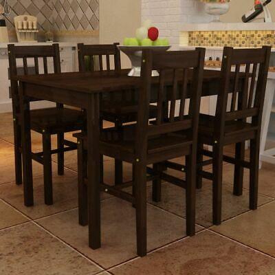vidaXL Dining Set 5 Piece Pine Wood Brown Home Kitchen