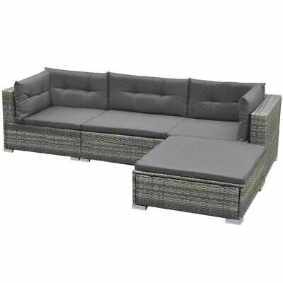 vidaXL Garden Lounge Set 14 Pieces Poly Rattan Grey Outdoor