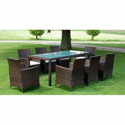 vidaXL Outdoor Dining Set 17 Pieces Poly Rattan Brown Glass