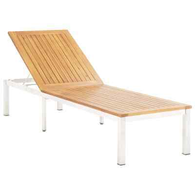 vidaXL Solid Acacia Wood Sun Lounger Stainless Steel Outdoor