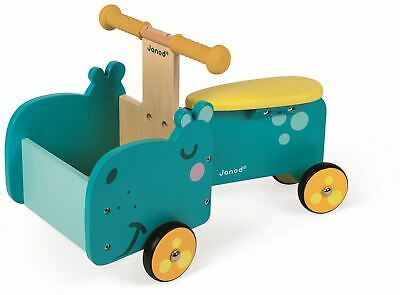 Janod HIPPOPOTAMUS RIDE-ON Wooden Toy BNIP