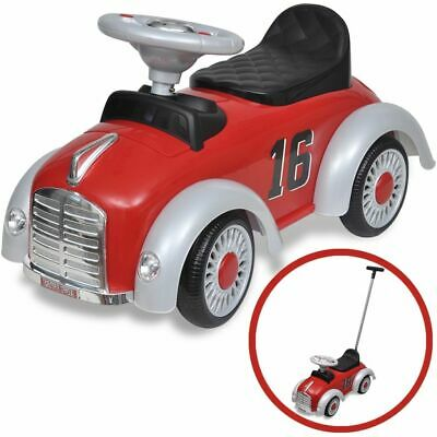 vidaXL Retro Children's Ride-on Car with Push Bar Red Kids