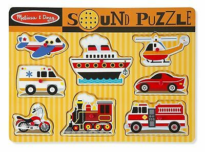 Melissa &Amp; Doug Vehicles Sound Puzzle Wooden Peg Puzzle