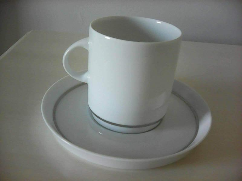 White Coffee Set with Silver Band